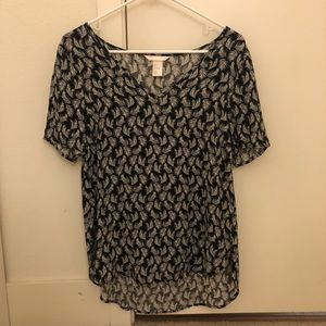 H&M Black Feather Top